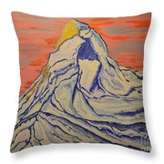 Golden Dawn On Matterhorn Throw Pillow