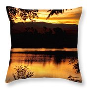 Golden Day At The Lake Throw Pillow