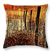 Golden Decay Throw Pillow