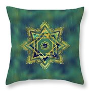Golden Decorative Star Of Lakshmi - Ashthalakshmi  Throw Pillow