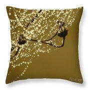Golden Dewdrops Throw Pillow