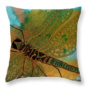 Golden Dragonfly Throw Pillow