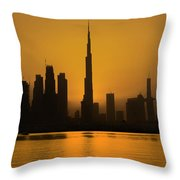 Golden Dubai Throw Pillow