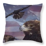 Golden Eagle Collage Throw Pillow