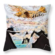 Golden Eagle Flies Above Clouds And Mountains Throw Pillow by Carol  Law Conklin