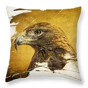 Golden Eagle Grunge Portrait Throw Pillow