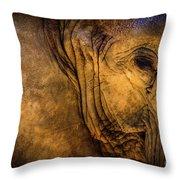 Golden Elephant Throw Pillow