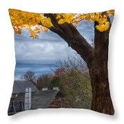 Golden Fall Colors Over Iron Works Throw Pillow