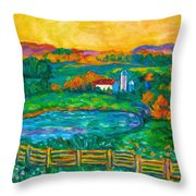 Golden Farm Scene Sketch Throw Pillow
