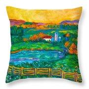 Golden Farm Scene Sketch Throw Pillow