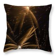 Golden Fireworks Throw Pillow
