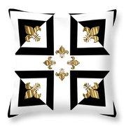 Golden Fleurs-de-lis Optical Illusion Throw Pillow