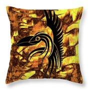Golden Flight Contemporary Abstract Throw Pillow