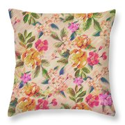 Golden Flitch Digital Vintage Retro  Glitched Pastel Flowers  Floral Design Pattern Throw Pillow