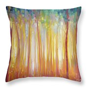 Golden Forest Hidden Unicorn - Large Original Oil Painting By Gill Bustamante Throw Pillow