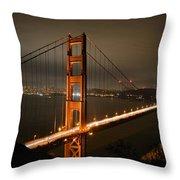 Golden Gate At Night Throw Pillow