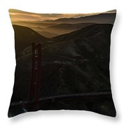 Golden Gate Bridge And Marin County At Sunset Throw Pillow