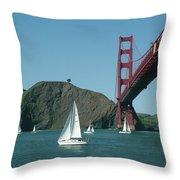 Golden Gate Bridge And Sailboats Throw Pillow