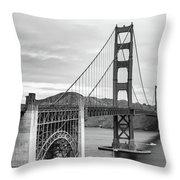 Golden Gate Bridge Black And White Throw Pillow