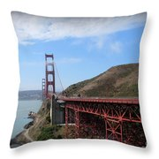 Golden Gate Bridge From The Scenic Lookout Point Throw Pillow