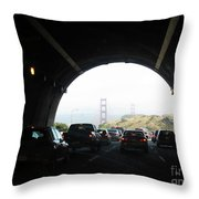 Golden Gate Bridge From Tunnel Throw Pillow