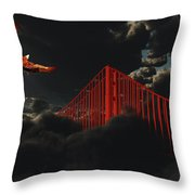 Golden Gate Bridge In Heavy Fog Clouds With Eagle Throw Pillow