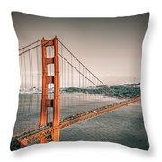 Golden Gate Bridge Selective Color Throw Pillow