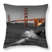 Golden Gate Bridge Sunset Study 1 Bw Throw Pillow