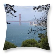Golden Gate Bridge Through The Trees Throw Pillow