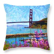 Golden Gate Bridge Viewed From Fort Baker Throw Pillow by Wingsdomain Art and Photography