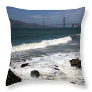 Golden Gate Bridge With Surf Throw Pillow