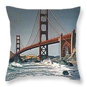 Golden Gate Surf Throw Pillow