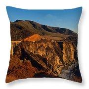 Golden Glow On Big Sur 2 Throw Pillow