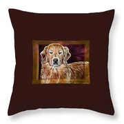 Golden Glowing Retriever Throw Pillow