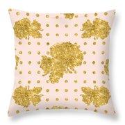Golden Gold Blush Pink Floral Rose Cluster W Dot Bedding Home Decor Throw Pillow
