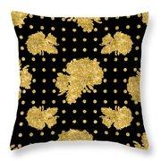 Golden Gold Floral Rose Cluster W Dot Bedding Home Decor Art Throw Pillow
