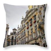 Golden Grand Place Throw Pillow