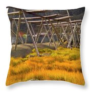 Golden Gras And Fish Drying Rack Throw Pillow by Heiko Koehrer-Wagner