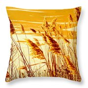 Golden Grasses Throw Pillow
