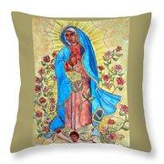 Golden Guadalupe Throw Pillow