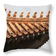 Golden Guardians Of The Forbidden City Throw Pillow