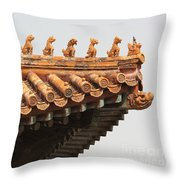 Golden Guardians Of The Forbidden City Throw Pillow