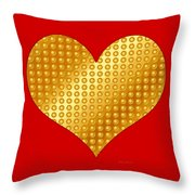 Golden Heart Red Throw Pillow