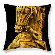 Golden Horse Throw Pillow