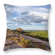 Golden Hour Light On Turkey Peak And Prickly Pear Cacti - Enchanted Rock Fredericksburg Hill Country Throw Pillow