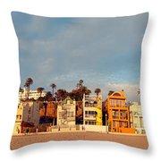 Golden Hour Panorama Of Santa Monica Condos And Bungalows - Los Angeles California Throw Pillow