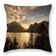 Golden Jenny Lake View Throw Pillow