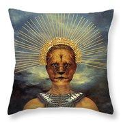 Golden Jungle Queen Throw Pillow