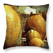Golden Large Fountain Urns Throw Pillow