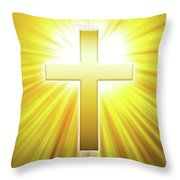 Golden Latin Cross With Sunbeams Throw Pillow